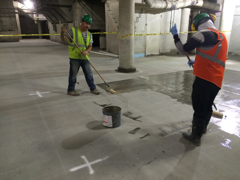 Image- Preparing a concrete slab floor for waterproofing application