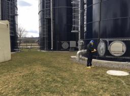 Manway entry into a biosolids storage silo