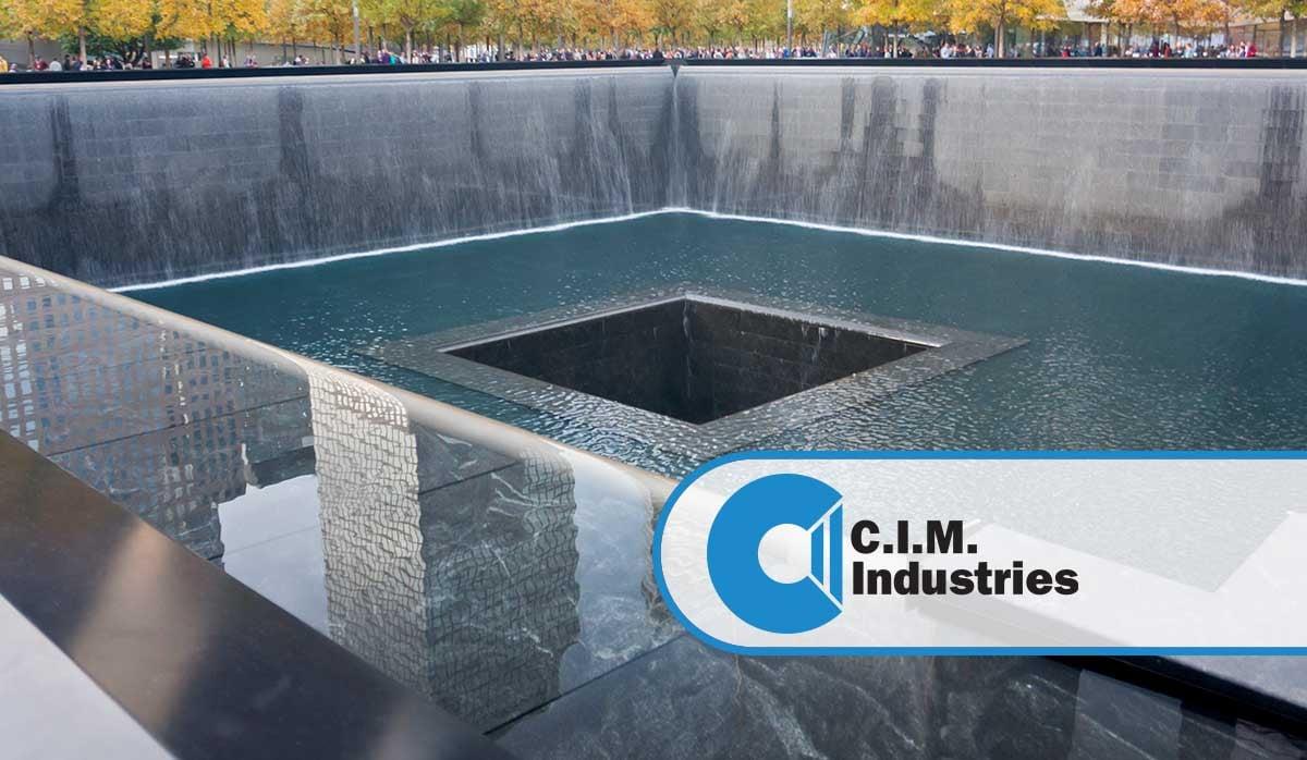World trade center memorial fountains on a fall day